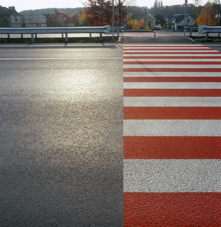 Zebra crossing on the street.  photo