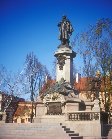 Statue of Adam Mickiewicz in Warsaw, Poland. Famous poet and patriot. Stock Photo