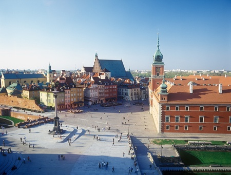 The beautiful view of the historical square. Warsaw, Poland.