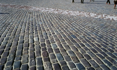 Old cobblestone town square. Warsaw, Old Town, Poland.