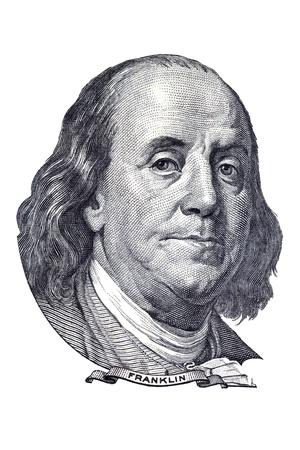 백 달러 지폐에 벤자민 프랭클린의 초상화. 흰색에 격리. 에디토리얼