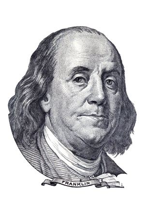 Benjamin Franklin portrait on one hundred US dollars banknote. Isolated on white. Editoriali