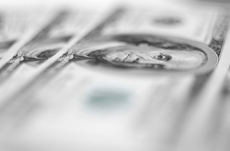 $100 banknotes background with extremally shallow depth of field. photo