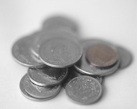 helvetia: Heap of various swiss coins. Extremally shallow depth of field. Stock Photo