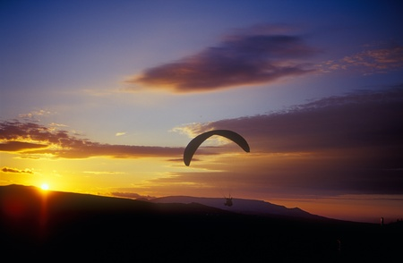 Paraglider flying against a sunset. Crimea, Ukraine. photo