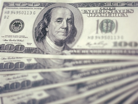 $100 banknotes background with shallow depth of field. Focus on eyes. Stock Photo - 13359535