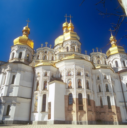 Fragment of Uspensky Cathedral in Kiev-Pechersk Lavra. Kiev-Pechersk Lavra is a famous ancient orthodox monastery. Kyiv, Ukraine. photo