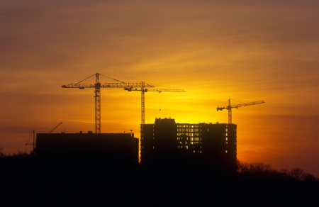 Sunset at the construction site.  photo