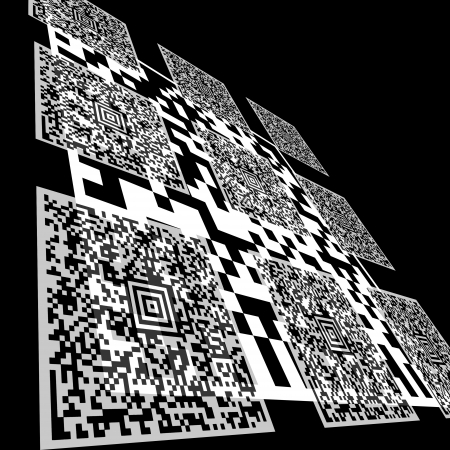 Background composed of Aztec Code and DataMatrix Code barcodes. This Aztec Codes literally translates as the following text:  photo
