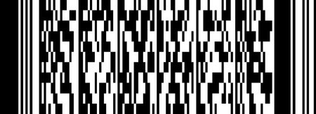 New technology barcode called PDF417. This example of code literally translates as the following text:  Stock Photo