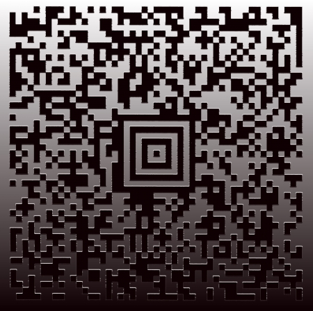 literally: New technology barcode called Aztec Code   this example of code literally translates as the following text   This is an example Aztec Code    Engraved on the metal plate