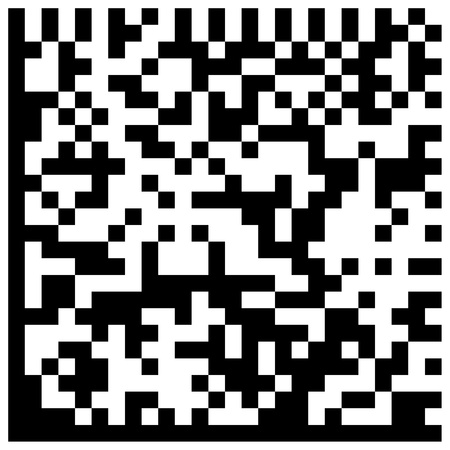 New technology barcode called DataMatrix Code   this example of code literally translates as the following text   This is an example of code DataMatrix    photo