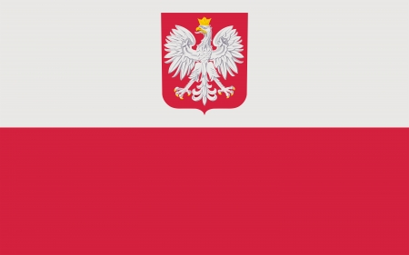 Basic design of the current national flag with coat of arms of the Republic of Poland. Complies to the attachment no.3 to the Coat of Arms Act. Proper proportion (5:8) and proper colors. Adopted August 1 1919, last modified in 1990. Standard-Bild
