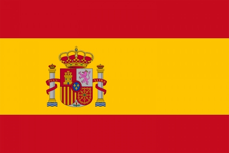 Basic design of the current flag of Spain with the coat of arms specified by Rule 3 of the Royal decree 1511/1977. Proper ratio (2:3) and colors. Adopted December 19,1981.