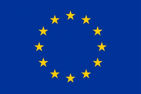 The official basic design of the current flag of Europe. Proper proportion (2:3) and colors. Adopted 8 December 1955 (CoE), 29 June 1985 (EEC).