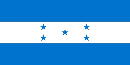hn: National flag of Republic of Honduras. Proportion 2:1. Adopted February 16, 1866. Stock Photo