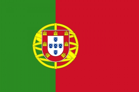 Civil and state flag and national ensign of Portugal with the lesser coat of arms. photo