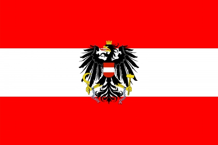 State and war flag and state and naval ensign with coat of arms of Austria. Proper ratio (2:3) and colors. Adopted July 4, 1945.