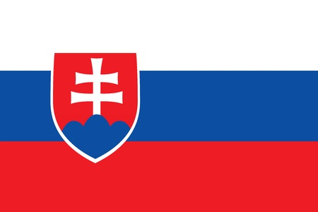 National flag with coat of arms of Slovakia. Proportion 2:3. Adopted September 3, 1992. Stock fotó - 18032193