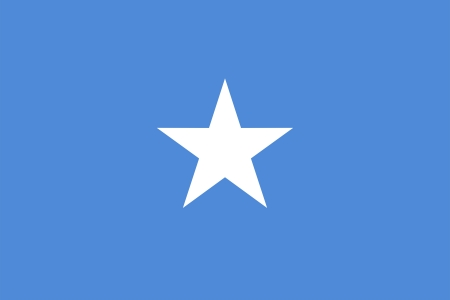 somali: National flag and ensign of the Federal Republic of Somalia. Proportion 2:3. Adopted October 12, 1954.