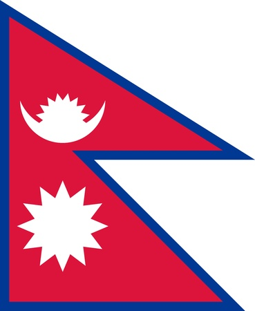 National flag of the Federal Democratic Republic of Nepal. Adopted December 12, 1962.