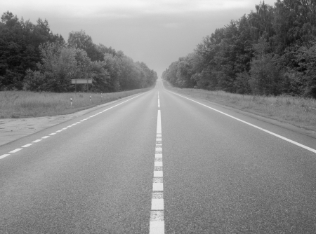 non marking: Empty country highway in black and white  Stock Photo