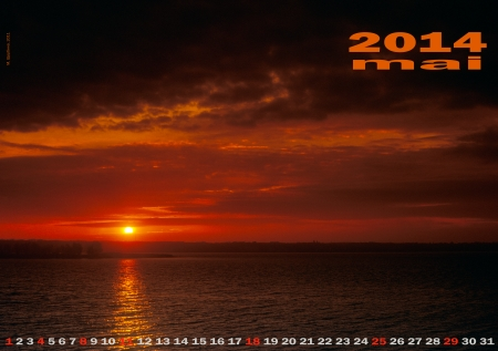 Layout A3 wall calendar with beautiful multicolored sunsets  If you want, change red dates  photo