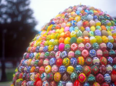 Huge Easter egg made from easter eggs  Stock Photo