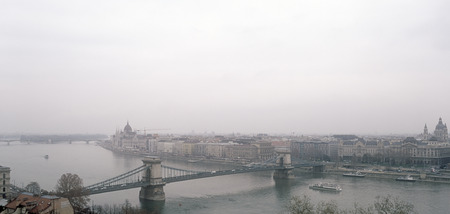 Panoramic view of the Budapest on a cloudy day