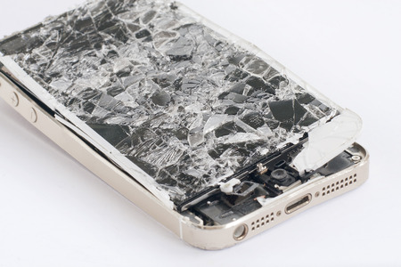 broken telephone: Touch screen mobile phone with broken screen