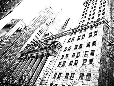 new york stock exchange: Il New York Stock Exchange a Wall Street, NYC bianco e nero illustrazione