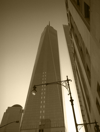 freedom tower: Freedom Tower, New York City. Monochrome image. Stock Photo