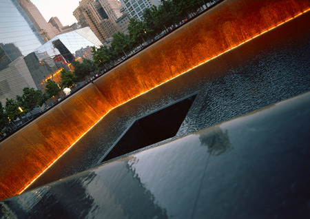 New York City, USA - June 24, 2014  9 11 Memorial at Ground Zero, Lower Manhattan, commemorating the terrorist attack of September 11, 2001