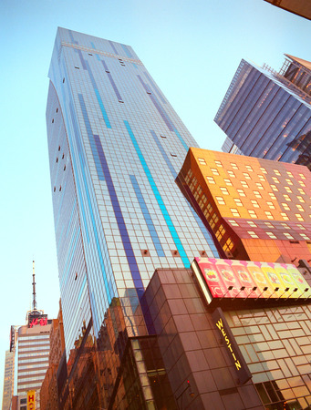 New York, USA - June 23, 2014  The New York colorful skyscrapers located in Times Square   Editorial