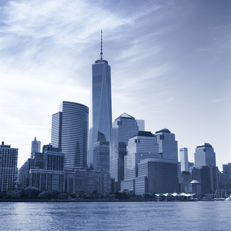 world trade center: The Manhattan Island. View from the Hudson River.