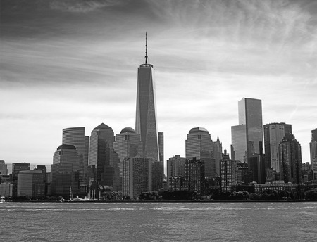 world trade center: View of the Manhattan Island from the Hudson River. Stock Photo