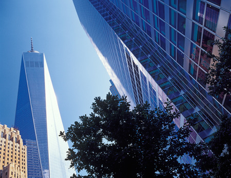 freedom tower: New York City - looking up. Buildings of Manhattan - Freedom Tower.