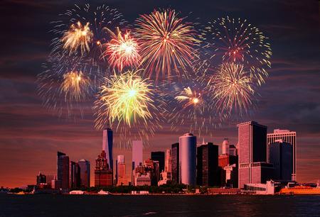 Fireworks above the Manhattan, New York City.
