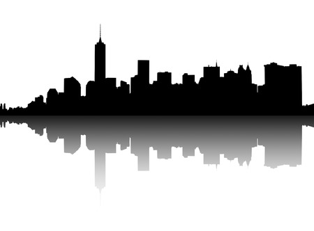 downtown district: Silhouette of Lower Manhattan on white background. Illustration