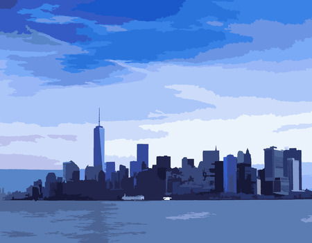 downtown district: New York City skyline in blue tones.