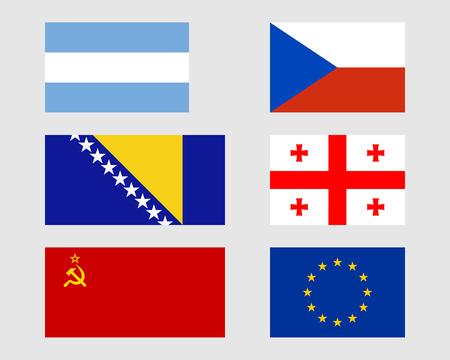 bosnian: Argentinean, Czech, Bosnian, Georgian, Soviet and Europeari flags. Illustration
