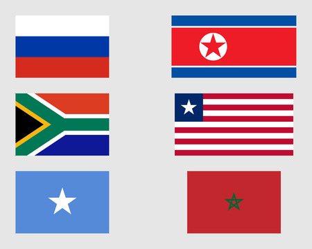 somalian: Russian, North Korean, South African, Liberian, Somalian and Moroccan flags. Illustration