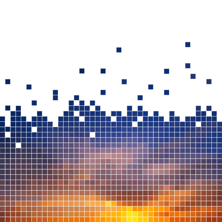 Sunset - vector illustration of a large number of small squares. Illustration