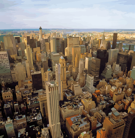 city view: Aerial view of New York City from the Empire State Building.