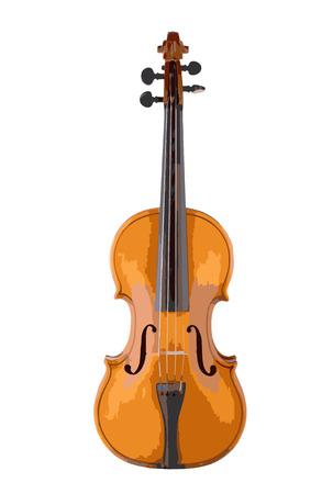Illustrazione vettoriale di violino isolato su bianco. Vettoriali