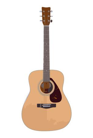 folk music: Vector illustration of acoustic guitar isolated on white.