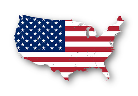 High resolution map of the USA with american flag. You can easily remove the shadows, or to fill in the map in a different color - clipping path included. Stock Photo