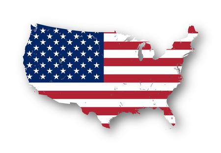 bandera estados unidos: Mapa de alta resoluci�n de los EE.UU. con la bandera americana. Usted puede quitar f�cilmente las sombras, o para rellenar en el mapa con un color diferente - camino de recortes incluido. Foto de archivo