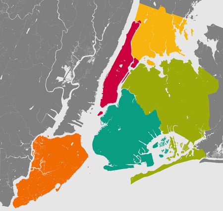 High resolution outline map of New York City with NYC boroughs. Each boroughs placed on a separate layer.