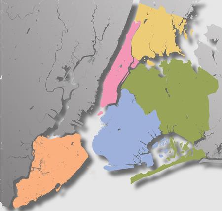 Haute résolution carte de New York avec NYC arrondissements.